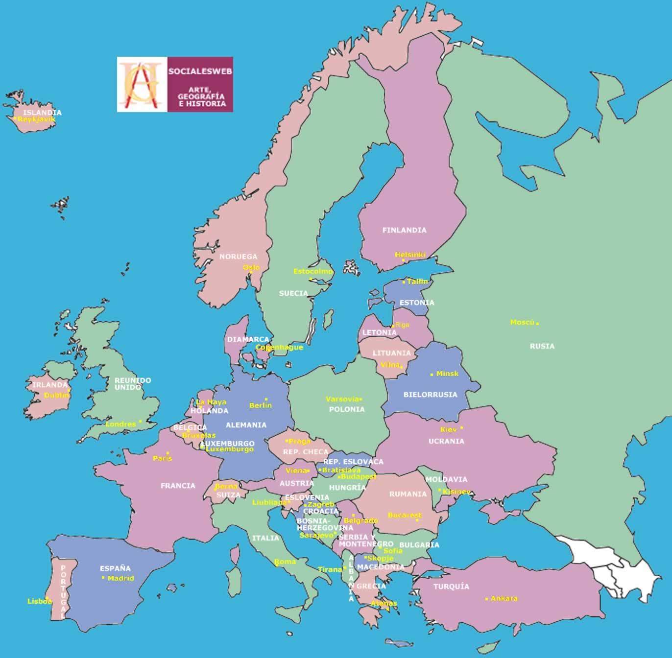 Politico Mapa Europa Con Capitales.Mapa Politico De Europa Con Sus Capitales